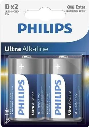 Batéria Philips ULTRA ALKALINE LR20-P2 2bl