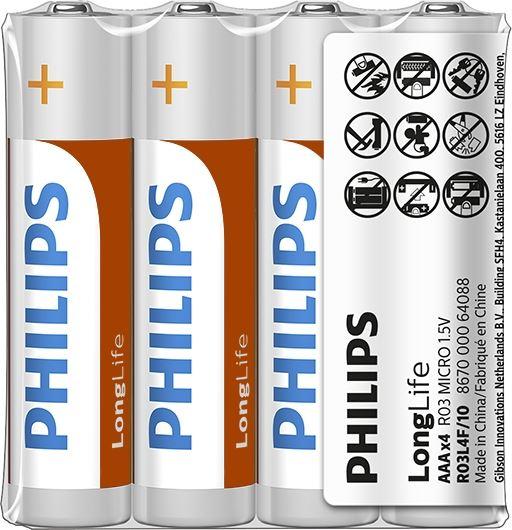 Batéria Philips LONGLIFE AAA R03 1,5V TRAY