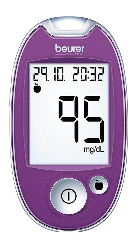 Fotografie Glukomer BEURER GL 44 purple mmol/L
