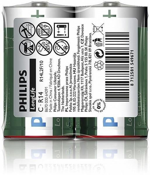 """Batéria Philips LONGLIFE R14 1.5V """"TRAY"""""""