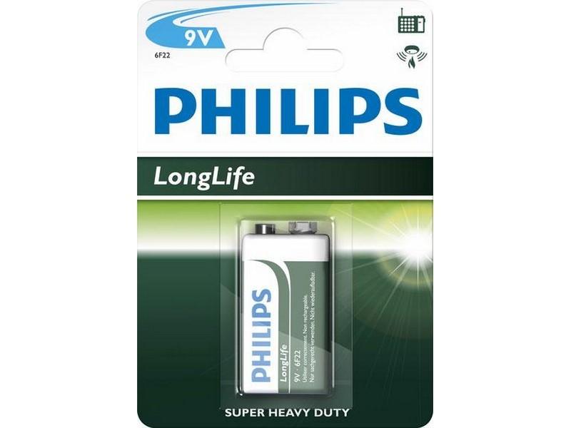 "Batéria Philips LONGLIFE 6F22S 9V  ""BLIS"