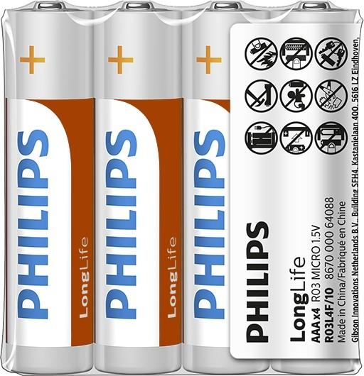 """Batéria Philips LONGLIFE R03 1.5V  """"TRAY"""