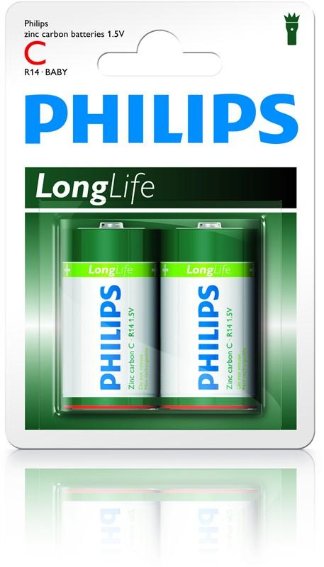 """Batéria Philips LONGLIFE R14 1.5V  """"BLIS"""