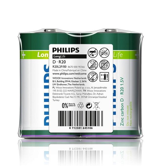 """Batéria Philips LONGLIFE R20 1.5V """"TRAY"""""""