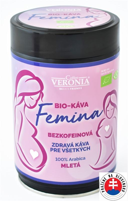 Bezkofeínová BIO káva Veronia Femina mletá